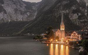 Preview wallpaper temple, mountains, lake, lighting, hallstatt, austria