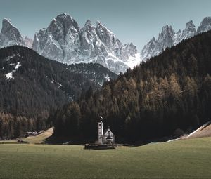 Preview wallpaper temple, mountains, landscape, peak, italy