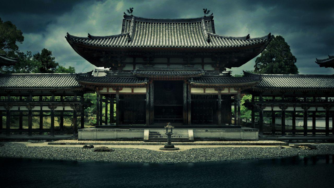 Wallpaper temple, phoenix ensemble, bedoin, japan, kyoto, architecture, building, pond, trees, overcast, sky