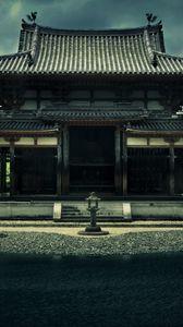 Preview wallpaper temple, phoenix ensemble, bedoin, japan, kyoto, architecture, building, pond, trees, overcast, sky