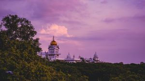 Preview wallpaper temple, trees, sunset, clouds, horizon