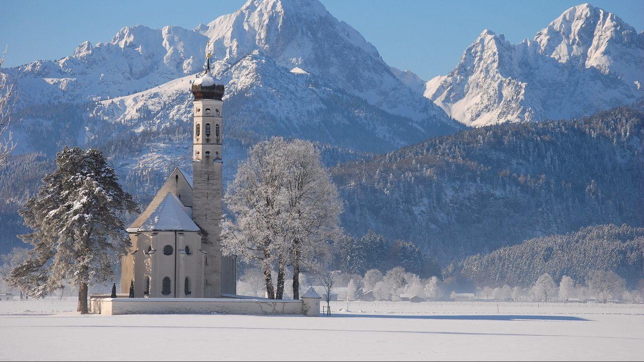 Wallpaper temple, winter, mountains, white, snow