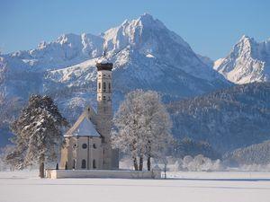 Preview wallpaper temple, winter, mountains, white, snow