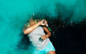 Preview wallpaper tennis, girl, racket, colored smoke, sport