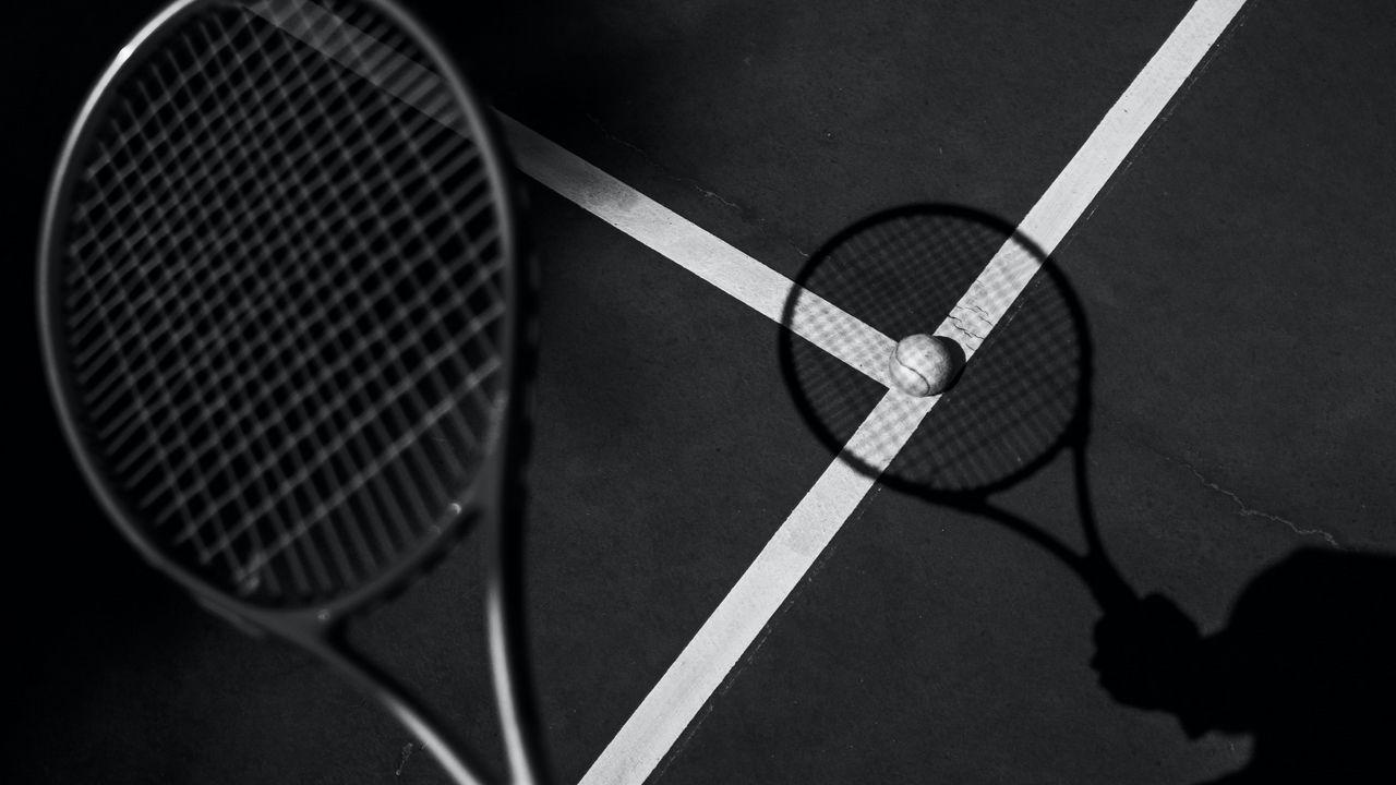 Wallpaper tennis, racket, tennis ball, bw