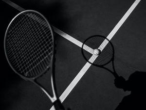 Preview wallpaper tennis, racket, tennis ball, bw