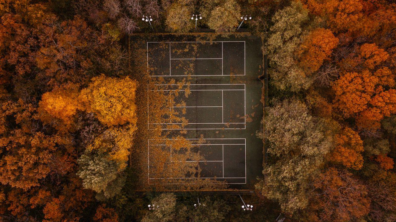 Wallpaper tennis, tennis court, autumn, aerial view