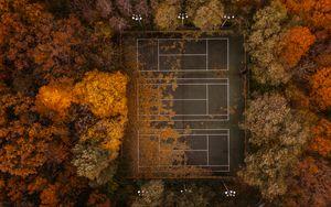 Preview wallpaper tennis, tennis court, autumn, aerial view