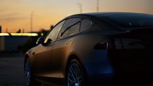 Preview wallpaper tesla, car, black, sunset