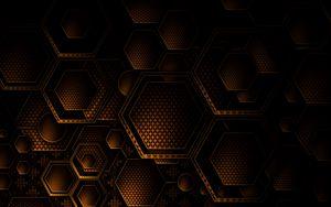Preview wallpaper texture, geometry, hexagons, brown, dark