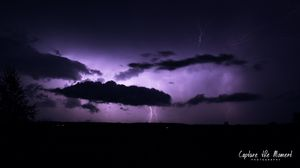 Preview wallpaper thunderstorm, lightning, clouds, flashes, purple, dark