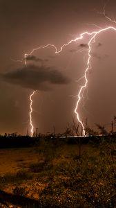 Preview wallpaper thunderstorm, lightning, flash, twilight, nature, dark