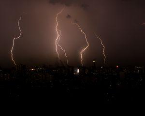 Preview wallpaper thunderstorm, lightning, flashes, night, city, dark