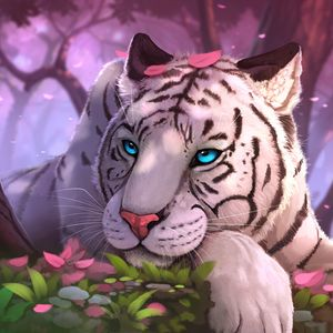 Preview wallpaper tiger, art, blue-eyed, sight