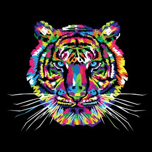 Preview wallpaper tiger, art, multicolored, ornament, vector