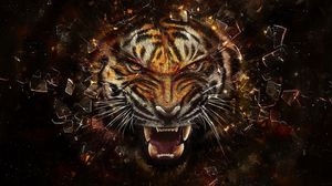 Preview wallpaper tiger, glass, shards, aggression, teeth