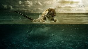 Preview wallpaper tiger, jump, sea, underwater, hunting