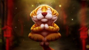 Preview wallpaper tiger, meditation, art, funny