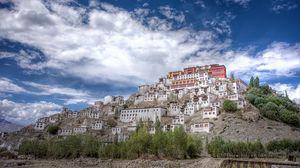 Preview wallpaper tiksi, india, monastery, mountain, buildings