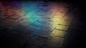 Preview wallpaper tile, street, wet, gradient, colorful