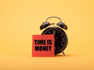 Preview wallpaper time, money, phrase, words, alarm clock