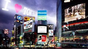 Preview wallpaper tokyo, buildings, night, advertising
