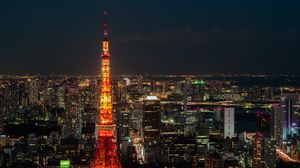 Preview wallpaper tokyo, night city, tower, skyscrapers