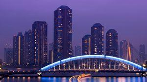 Preview wallpaper tokyo, skyscrapers, bridge, sea, light, night
