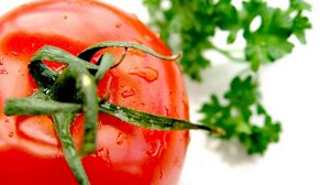 Preview wallpaper tomato, red, drops, ripe, parsley