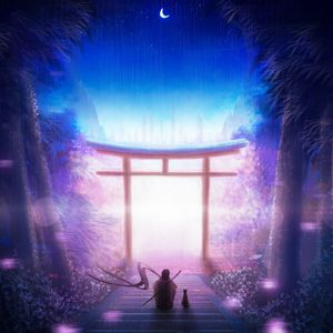 Preview wallpaper torii, art, solitude, night, warrior