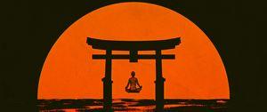 Preview wallpaper torii, silhouette, meditation, sun, arch, vector