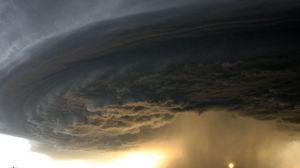 Preview wallpaper tornado, sky, funnel, road, field