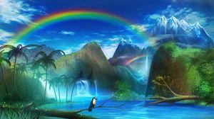 Preview wallpaper toucan, waterfall, rainbow, art