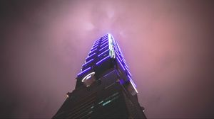 Preview wallpaper tower, building, architecture, backlight, fog