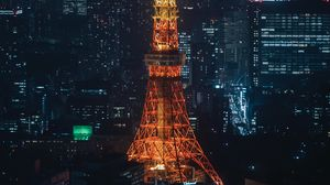Preview wallpaper tower, building, architecture, city, night, backlight