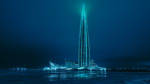 Preview wallpaper tower, building, backlight, architecture, night