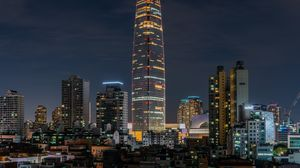 Preview wallpaper tower, buildings, city, architecture, night, backlight