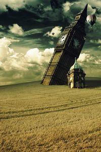 Preview wallpaper tower, clock, big ben, fall, irrealism, field