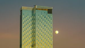Preview wallpaper tower, moon, building, architecture