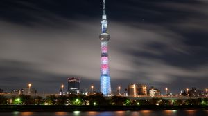 Preview wallpaper tower, night city, architecture, tokyo