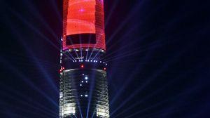 Preview wallpaper tower, skyscraper, building, architecture, night, backlight