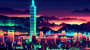 Preview wallpaper tower, taipei, art, skyscrapers, night city