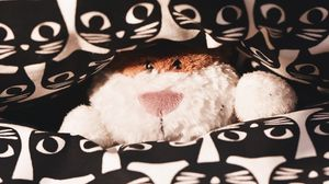 Preview wallpaper toy, teddy, peeking, pattern, cats