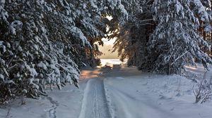 Preview wallpaper track, ski track, snow, winter, trees, snow-covered, attire