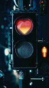 Preview wallpaper traffic light, heart, signal, red, love