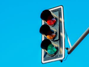 Preview wallpaper traffic light, lights, sky, minimalism