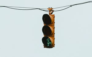 Preview wallpaper traffic light, wire, minimalism