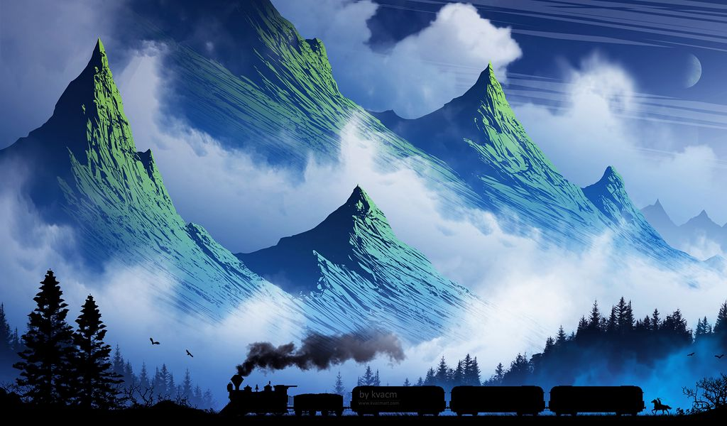 1024x600 Wallpaper train, mountains, art, fog, smoke