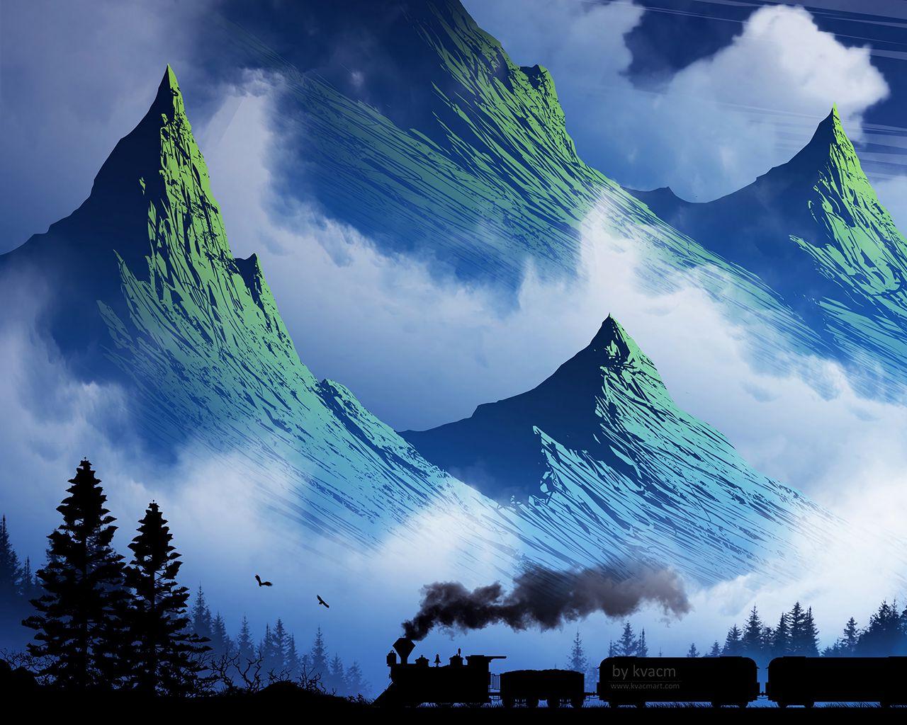 1280x1024 Wallpaper train, mountains, art, fog, smoke