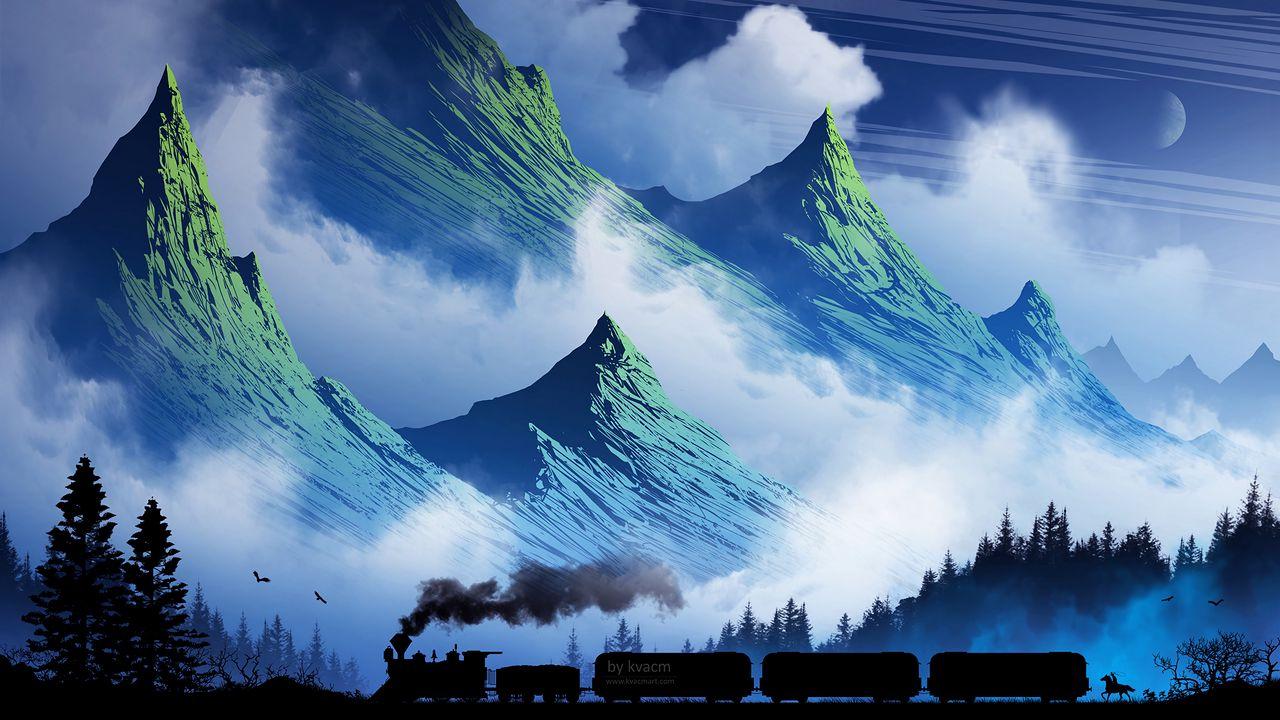 1280x720 Wallpaper train, mountains, art, fog, smoke